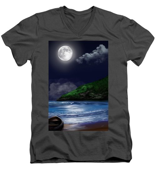 Moon Over The Cove Men's V-Neck T-Shirt