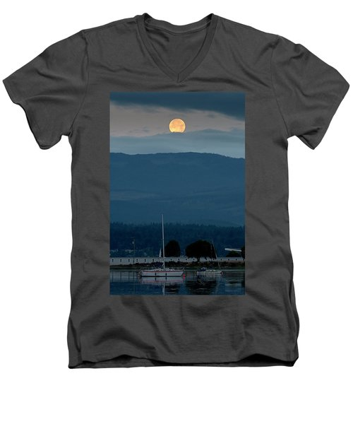 Moon Over The Spit Men's V-Neck T-Shirt