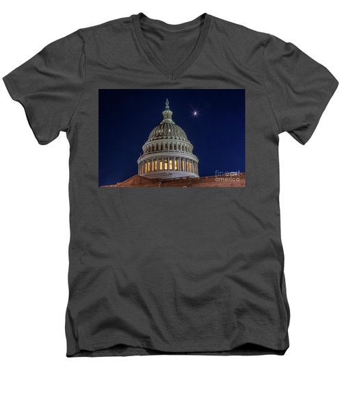 Moon Over The Washington Capitol Building Men's V-Neck T-Shirt