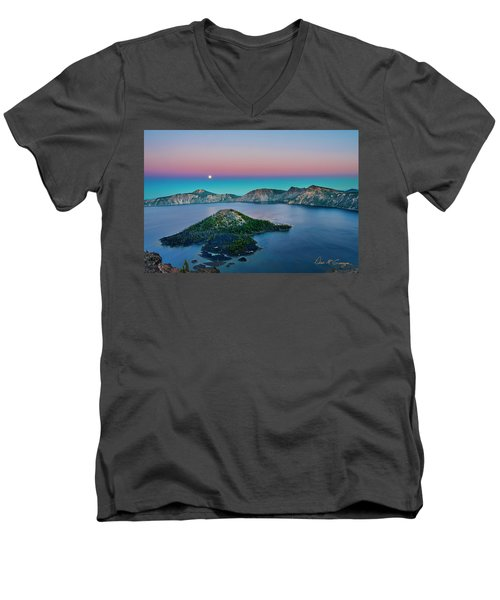 Moon Over Wizard Island Men's V-Neck T-Shirt
