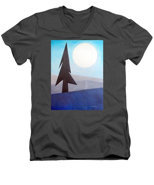 Men's V-Neck T-Shirt featuring the painting Moon Rings by J R Seymour