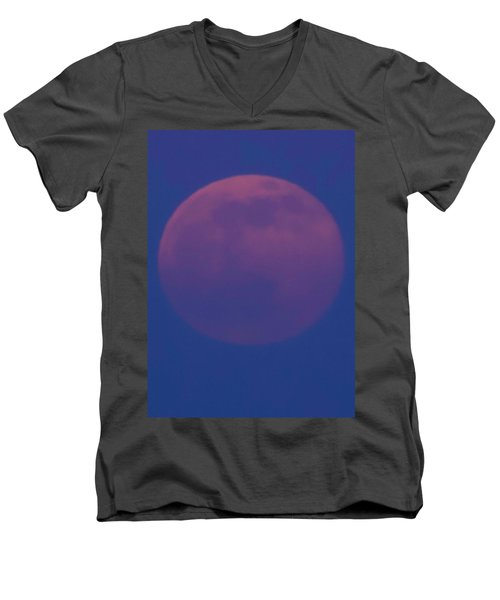 Men's V-Neck T-Shirt featuring the photograph Moon Rise Blue by Michael Nowotny