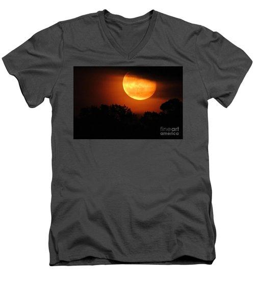 Moon Rise Men's V-Neck T-Shirt by Shelia Kempf