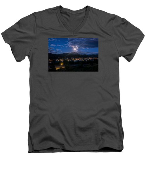 Moon Rising Over Breckenridge Men's V-Neck T-Shirt