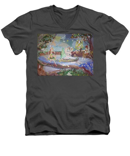 Moon River Fairies Men's V-Neck T-Shirt by Judith Desrosiers