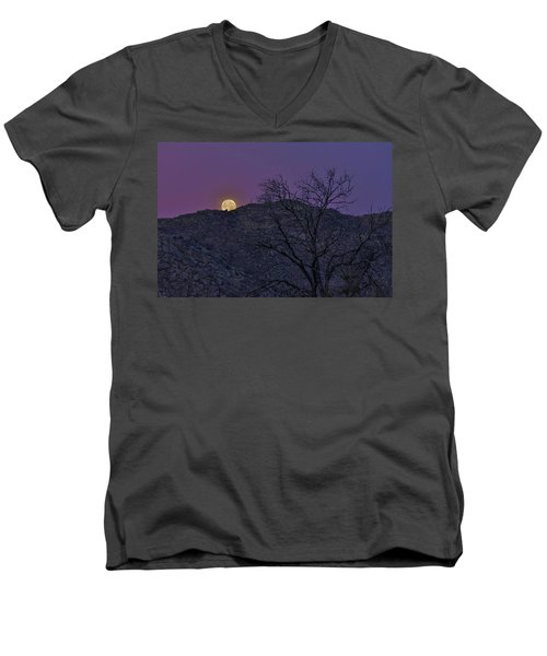Moon Set At Sunrise Men's V-Neck T-Shirt