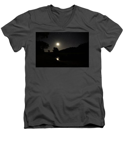 Moon Set Over Palm Valley 2 Men's V-Neck T-Shirt by Paul Svensen