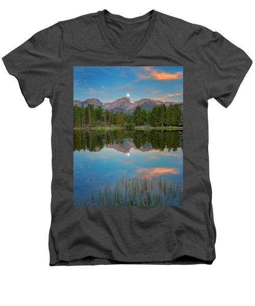 Full Moon Set Over Sprague Lake Men's V-Neck T-Shirt