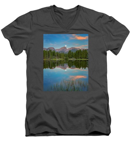 Full Moon Set Over Sprague Lake Men's V-Neck T-Shirt