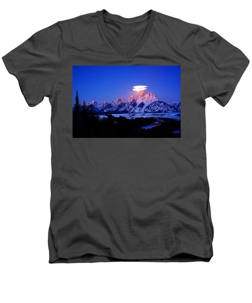 Moon Sets At The Snake River Overlook In The Tetons Men's V-Neck T-Shirt