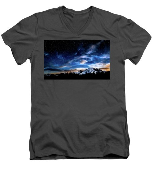 Moon Setting Behind Mt Rainier  Men's V-Neck T-Shirt