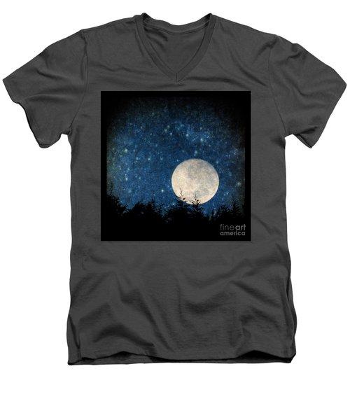 Moon, Tree And Stars Men's V-Neck T-Shirt