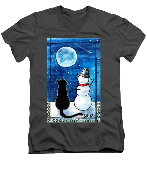 Moon Watching With Snowman - Christmas Cat Men's V-Neck T-Shirt