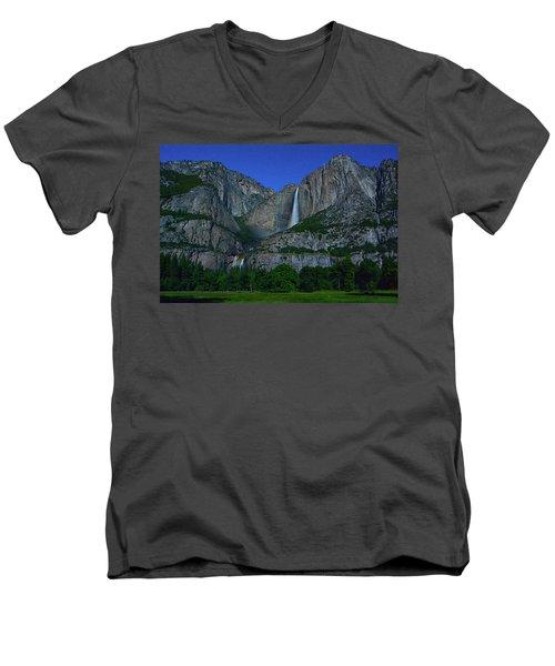 Moonbow Yosemite Falls Men's V-Neck T-Shirt