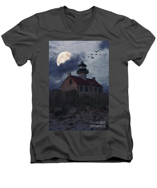 Moonlight At East Point Men's V-Neck T-Shirt