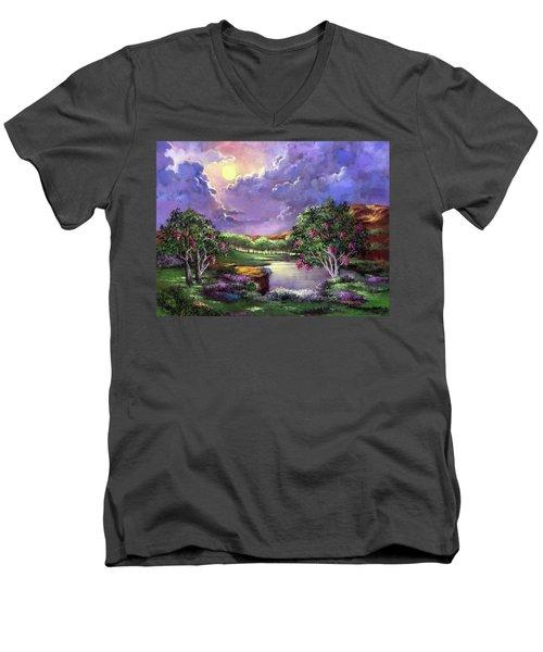 Moonlight In The Woods Men's V-Neck T-Shirt by Randy Burns