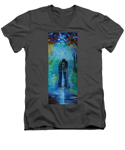 Men's V-Neck T-Shirt featuring the painting Moonlight Kiss Series 1 by Leslie Allen