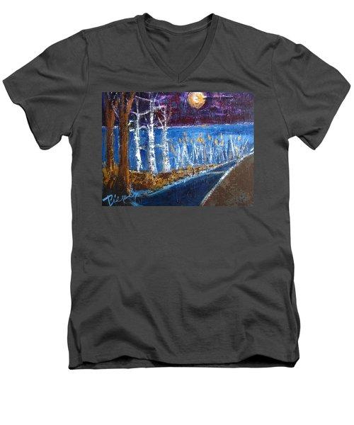 Moonlight On Path To Beach Men's V-Neck T-Shirt by Betty Pieper