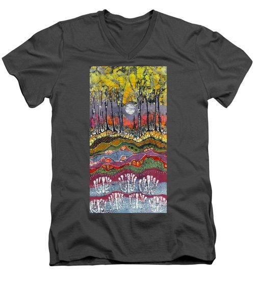 Moonlight Over Spring Men's V-Neck T-Shirt