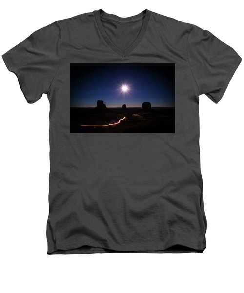Moonlight Over Valley Men's V-Neck T-Shirt