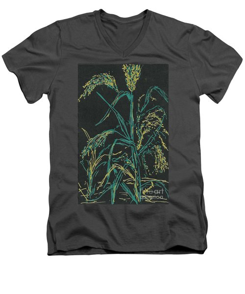 Men's V-Neck T-Shirt featuring the mixed media Moonlight Wheat by Vicki  Housel