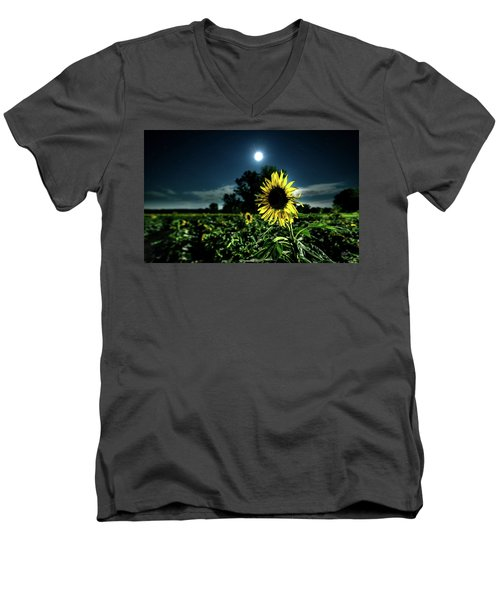 Men's V-Neck T-Shirt featuring the photograph Moonlighting Sunflower by Everet Regal