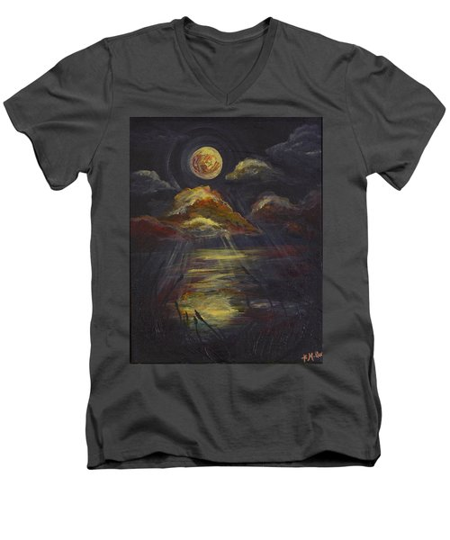 Moonlit Beach Guam Men's V-Neck T-Shirt
