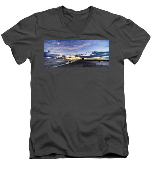Men's V-Neck T-Shirt featuring the photograph Moonlit Beach Sunset Seascape 0272c by Ricardos Creations