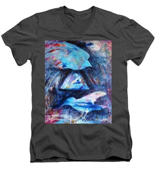 Moonlit Birds Men's V-Neck T-Shirt