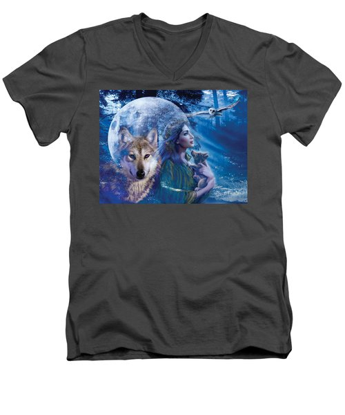 Moonlit Brethren Variant 1 Men's V-Neck T-Shirt by Andrew Farley
