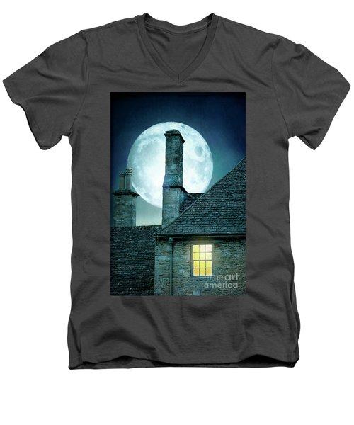 Moonlit Rooftops And Window Light  Men's V-Neck T-Shirt by Lee Avison