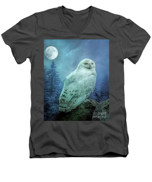 Moonlit Snowy Owl Men's V-Neck T-Shirt