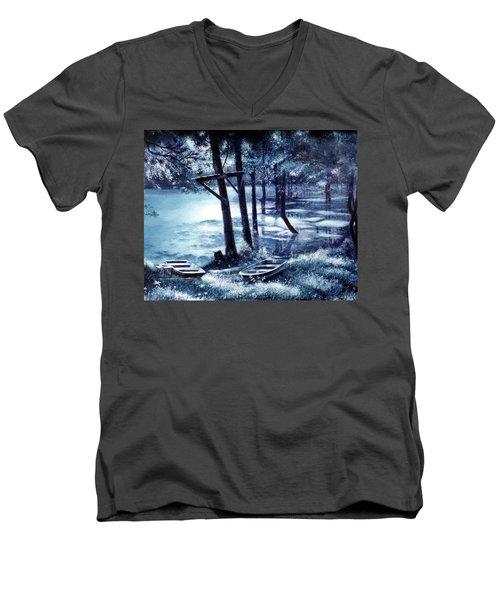 Moonlite On Village Creek Men's V-Neck T-Shirt