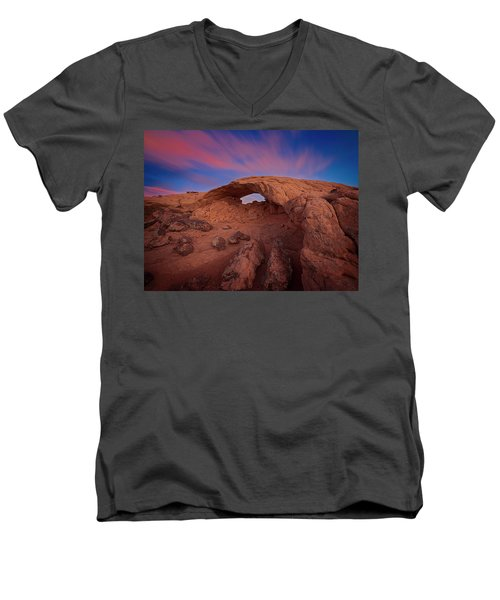 Men's V-Neck T-Shirt featuring the photograph Moonrise Arch by Edgars Erglis