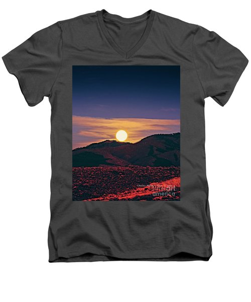 Moonrise In Northern New Mexico  Men's V-Neck T-Shirt