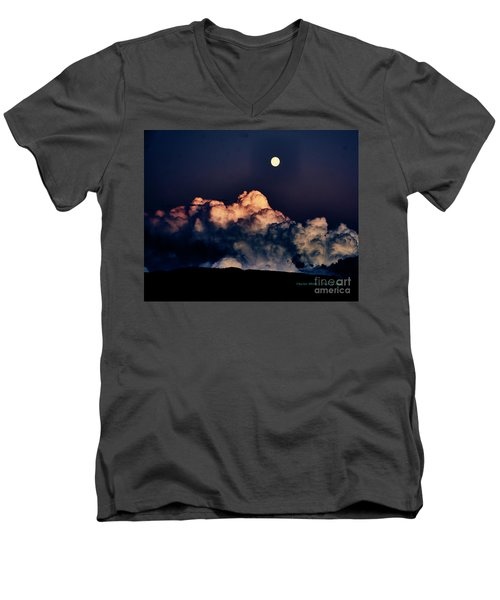 Moonrise In Taos Men's V-Neck T-Shirt