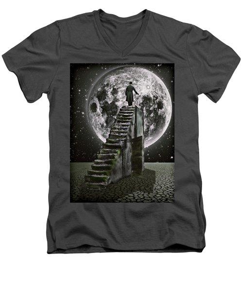 Moonrise Men's V-Neck T-Shirt by Mihaela Pater