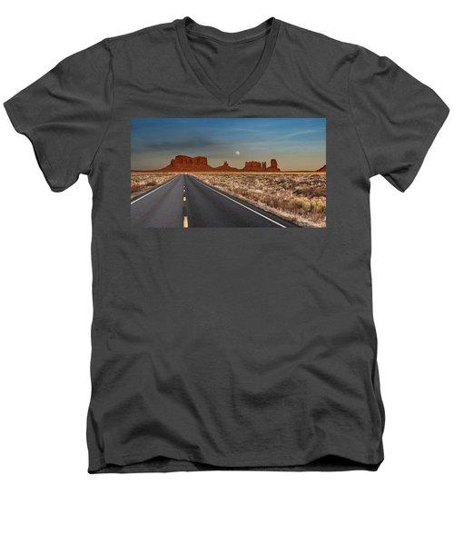 Moonrise Over Monument Valley Men's V-Neck T-Shirt