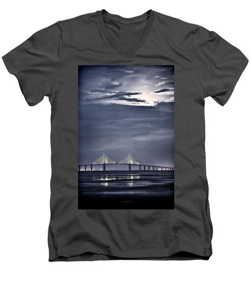 Moonrise Over Sunshine Skyway Bridge Men's V-Neck T-Shirt