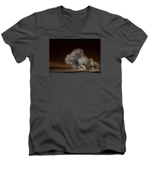 Moonrise Over The Bottoms, October Men's V-Neck T-Shirt by William Fields