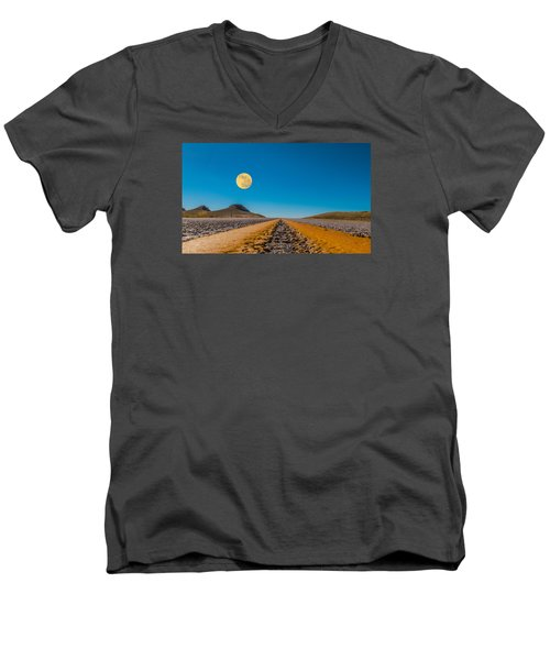 Moonrise Wyoming Men's V-Neck T-Shirt by Don Spenner