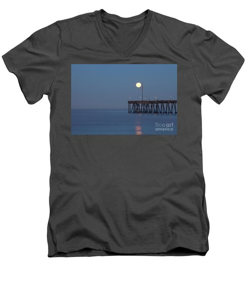 Men's V-Neck T-Shirt featuring the photograph Moonset At The Ventura Pier by John A Rodriguez