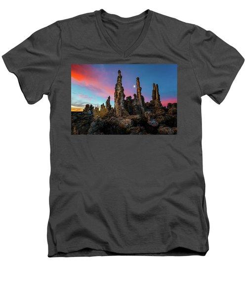 Moonset Over Mono Lake Men's V-Neck T-Shirt