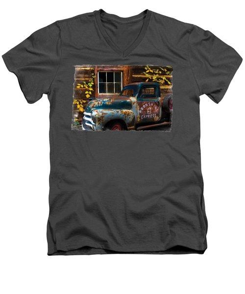 Moonshine Express Bordered Men's V-Neck T-Shirt by Debra and Dave Vanderlaan