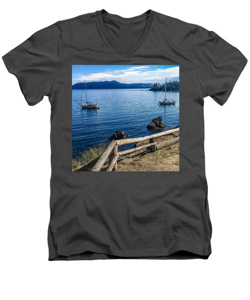 Men's V-Neck T-Shirt featuring the photograph Mooring In Doe Bay by William Wyckoff