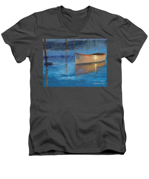 Men's V-Neck T-Shirt featuring the painting Moored In Light-sold by Nancy Parsons