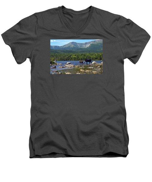 Moose Baxter State Park Maine 2 Men's V-Neck T-Shirt by Glenn Gordon