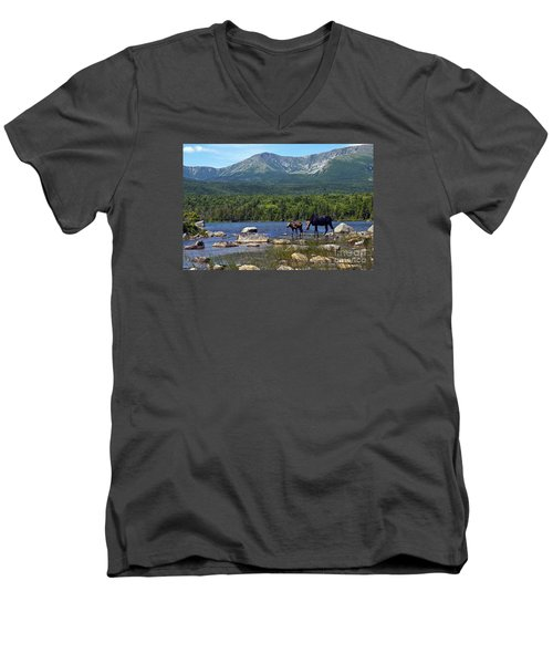Moose Baxter State Park Maine 2 Men's V-Neck T-Shirt