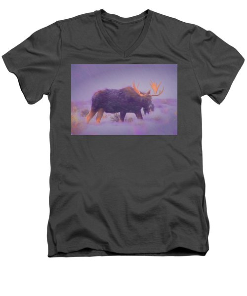 Moose In A Blizzard Men's V-Neck T-Shirt