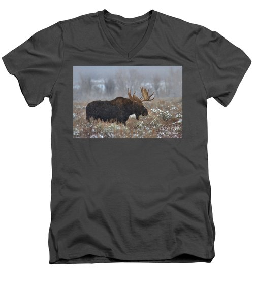 Men's V-Neck T-Shirt featuring the photograph Moose In The Fog by Adam Jewell